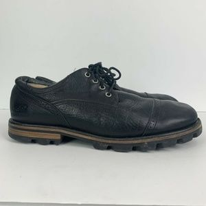 UGG Leather Cap Toe Black Lace Up Oxford Shoes